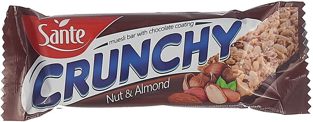 Sante Crunchy батончикмюслисорехамииминдалем в шоколаде,40г цена в Москве и Питере