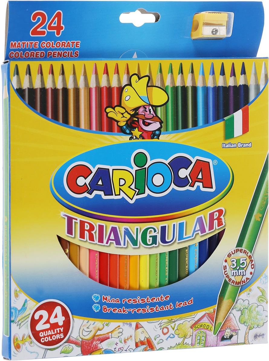 Набор цветных карандашей Carioca Triangular, трехгранные, 24 цвета carioca набор смываемых восковых карандашей baby 8 цветов