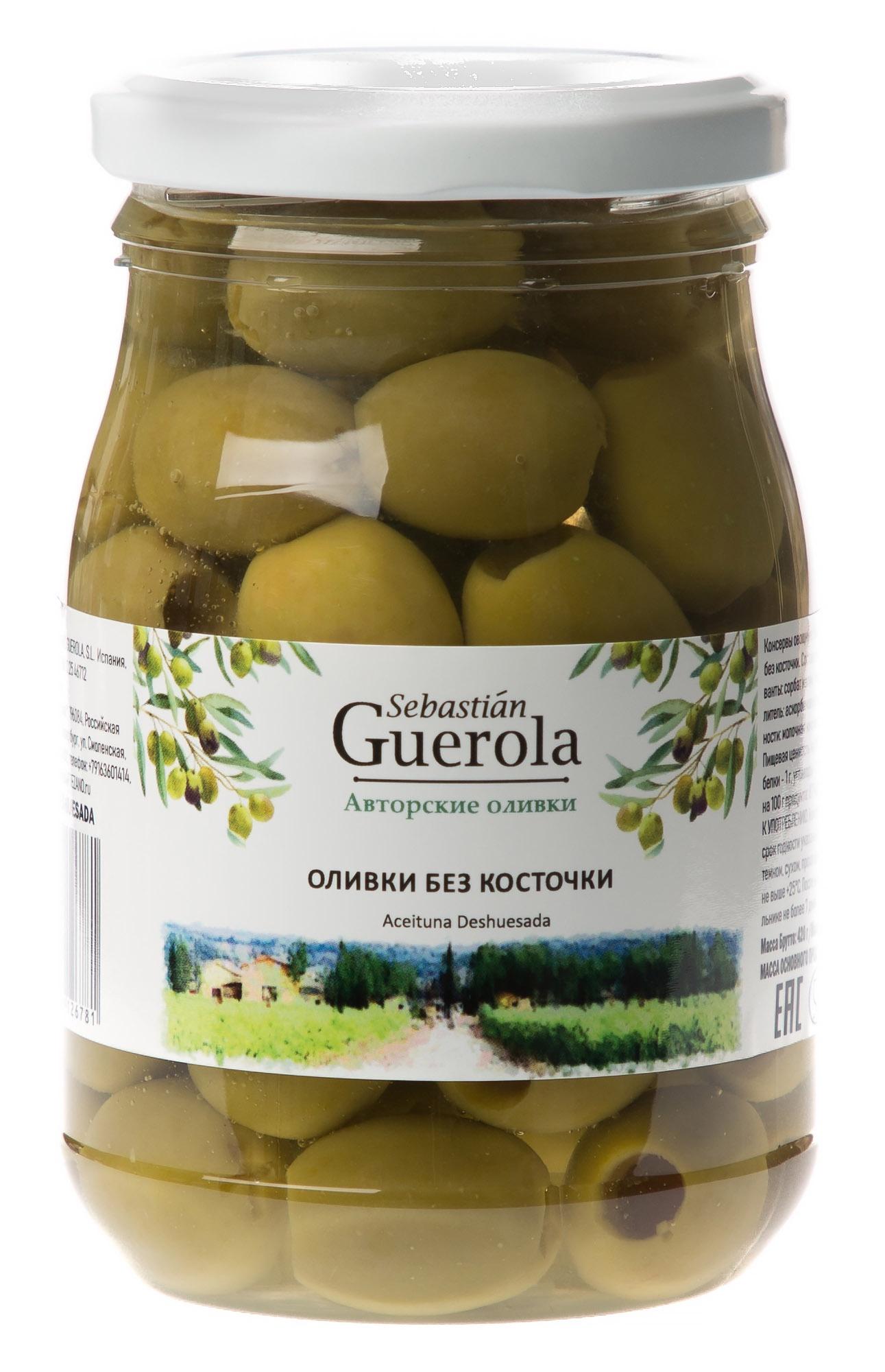 Овощные консервы Sebastia Guerola- Авторские оливки Оливки зеленые БЕЗ КОСТОЧКИ Пластиковая банка, 370 guerola оливки зеленые сорта кампо реал с косточкой 2 25 кг