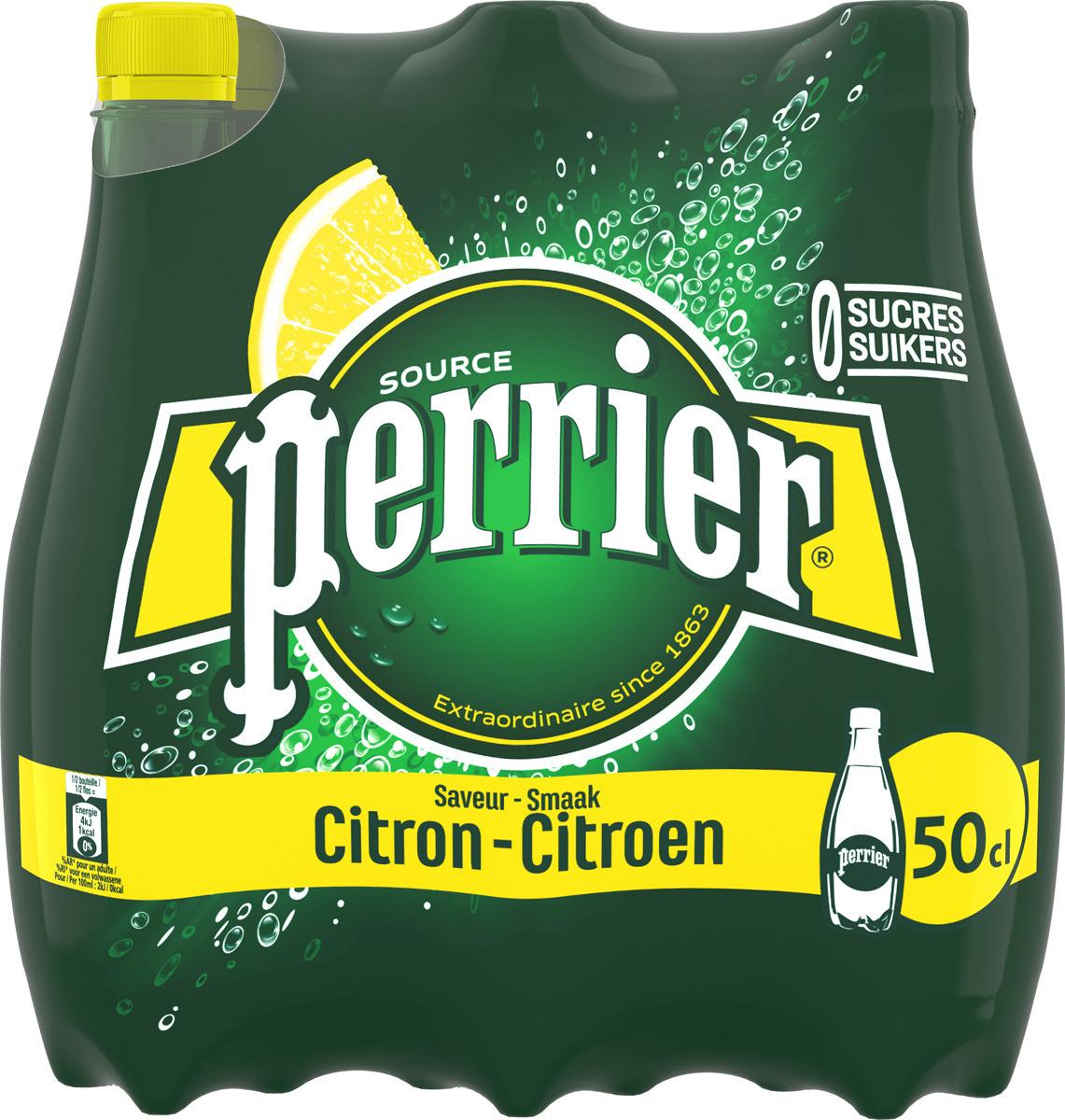 Газированный напиток Perrier с ароматом лимона, 24 шт по 0.5 л
