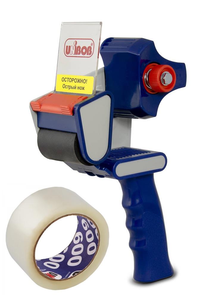 Диспенсер для скотча Unibob в комплекте с упаковочной прозрачной клейкой (липкой) лентой