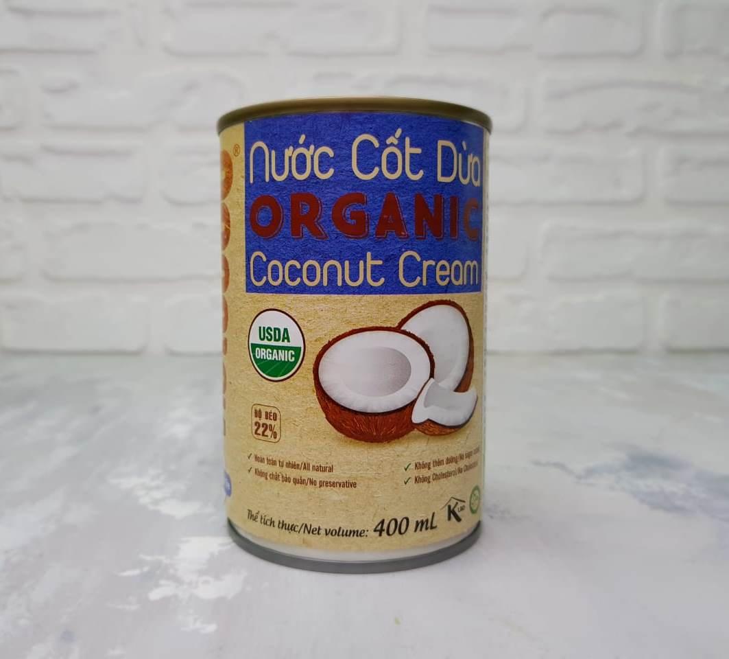 Сливки Кокосовые натуральные Organic 400 мл TM VietCOCO Банка с ключом halal