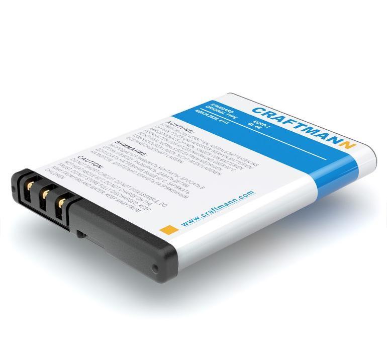 Аккумулятор для телефона Craftmann BL-5B для Nokia 6060, 2135, 3220, 5070, 5140, 5140i, 5200, 5300, 5320, 5500, 6020, 6021, 6061, 6062, 6070, 6080, 6120 Classic, 6121 Classic, 6122 Classic, 6124, 7260, 7360, N80, N90