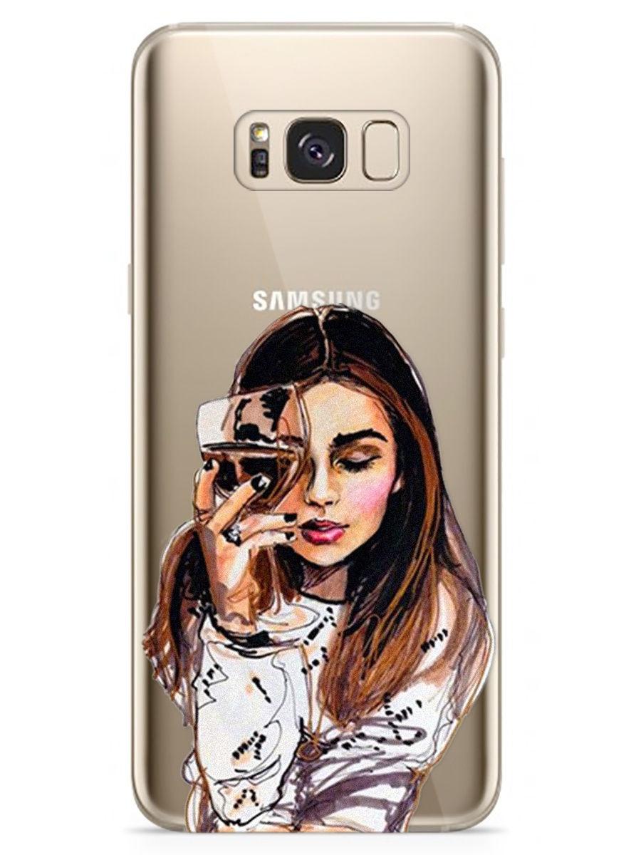 """Чехол для сотового телефона With Love. Moscow Art Design """"Девушка с вином"""" для Samsung Galaxy S8"""