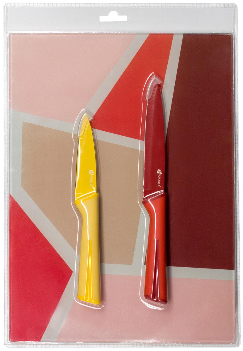Набор кухонных ножей Apollo Rainbow, с доской, RNB-02-YR, желтый, красный, 3 предмета