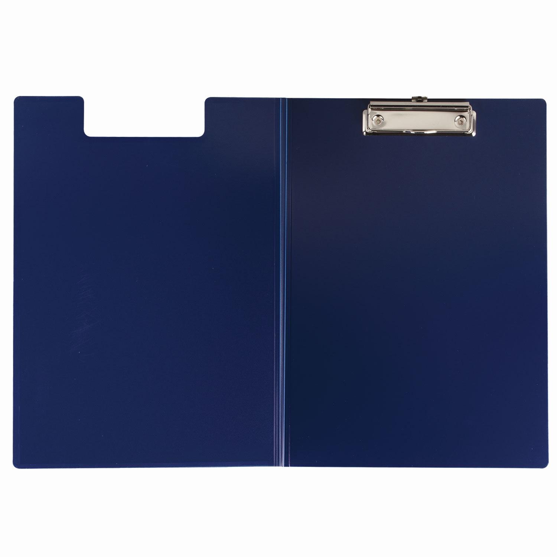 Планшет с зажимом BRAUBERG с верхним прижимом и крышкой, А4, пластик, до 80 л., 1,5мм, синий