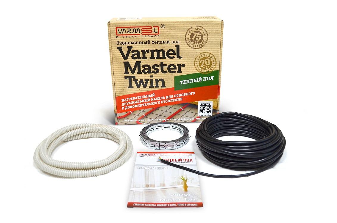 Теплый пол Varmel Varmеl Master Twin 550w-18,5w/m (30м) нагревательный кабель, красныйE97344-CPЭлектрическая кабельная система обогрева, в которой источником тепла служит нагревательный кабель, встроенный в массив пола. Нагревательный кабель превращает поверхность пола в большую обогревательную панель с постоянной и равномерной теплоотдачей. При этом температура поверхности пола, за счет распределения кабеля по всей площади, превышает температуру воздуха в помещении всего на несколько градусов. Эти существенные отличия кабельных систем обогрева от традиционных систем отопления обеспечивают ряд ощутимых преимуществ. Такая система обогрева обеспечивает высокий комфорт, экономичность и надежность в эксплуатации, долговечность, к тому же поверхность пола остается свободной. К преимуществам такой системы отопления относится также удобство регулировки температуры в отдельных помещениях независимо друг от друга. Цвет кабеля: красный или черный