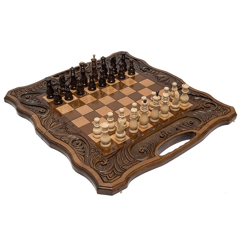 Шахматы+ нарды резные Фетис 50099-79Материал - Бук;Состояние - Новое;Упаковка - Чехол;Кости (шт) - 2;Ручка - Есть;Исполнение - Резные;Размер в закрытом состоянии (Д x Ш x В) (см) - 50х27х6;Размер в открытом состоянии (Д x Ш x В) (см) - 50х54х3;Размер Клетки (см) - 4х4;Тип Шахматной Доски - Складная;Высота Короля (см) - 8;Высота Пешки (см) - 4;Материал Фигур - Бук;Диаметр Основания Короля (см) - 2,5;Диаметр Основания Пешки (см) - 2,2;Фигуры С Подложкой - Да;