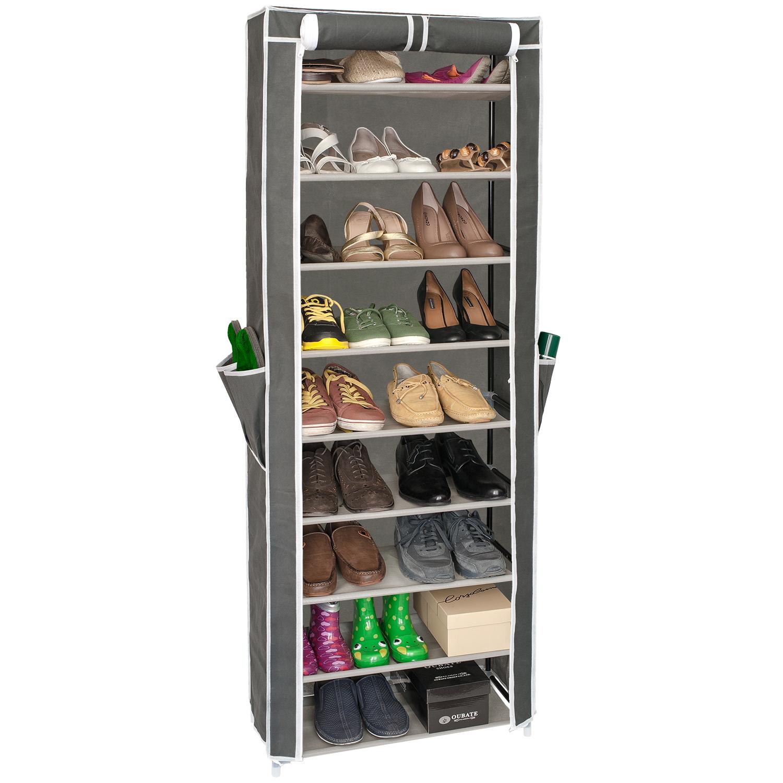 ЭтажеркаArtmoon CARRIE699317ARTMOON CARRIE Этажерка для обуви с нетканым чехлом, 9 полок для 27 пар обуви (+ 4 кармашка на чехле). Полки съемные, регулируется под обувь любой высоты. Нетканый чехол защищает от пыли, две молний, фиксируется липучкой в открытом виде, полки с полипропиленовой пропиткой не боятся влаги для легкой уборки. Материал: стальные трубы, пластиковые соединители, нетканый чехол, 2 молнии, 1 липучка. Упаковка: цветная коробка с ручкой.Размер: 58*29*160 см, цвет: темно-серый. Рекомендуем!