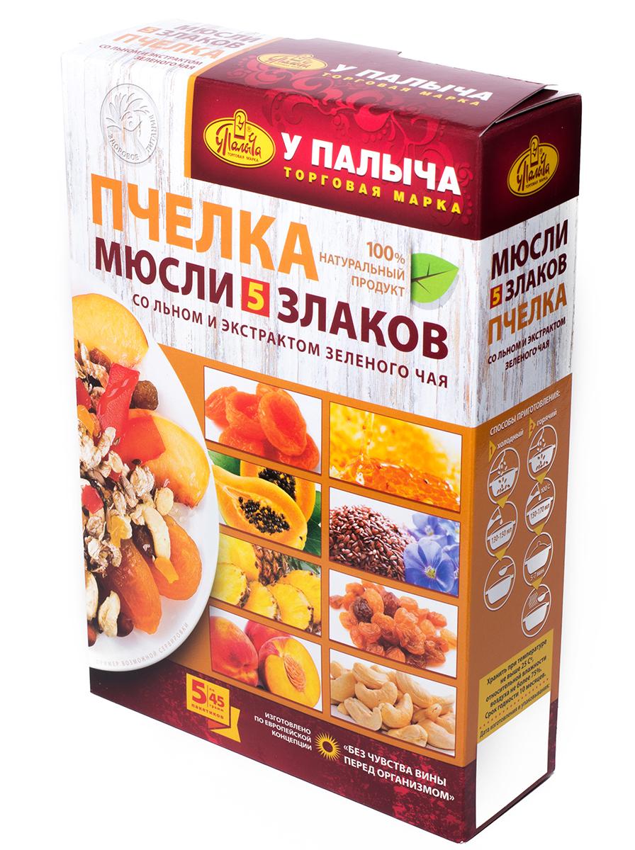 Мюсли У Палыча 5 злаков ПЧЕЛКА со льном и экстрактом зеленого чая, пакетиков по 45 г