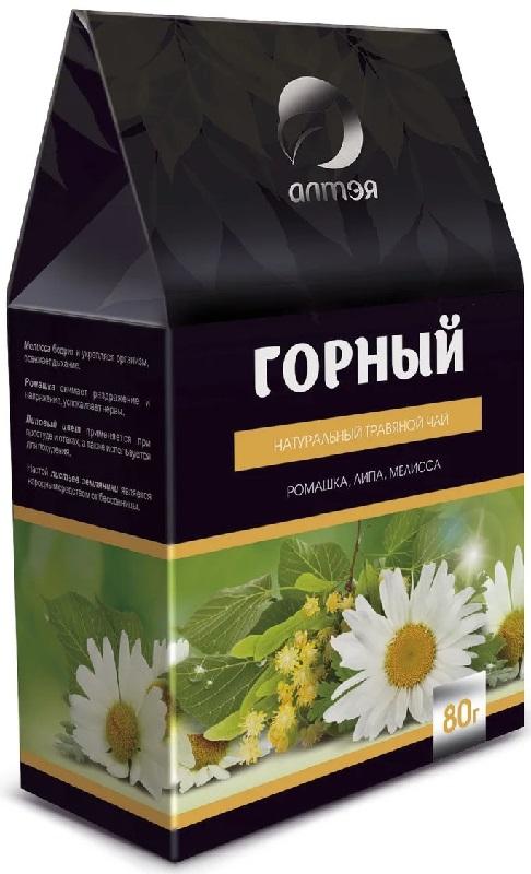 Чай листовой Алтэя Горный, ромашка, липа, мелисса, 80 гр, 80 алтэя чайный напиток травяной чай горный 80 г