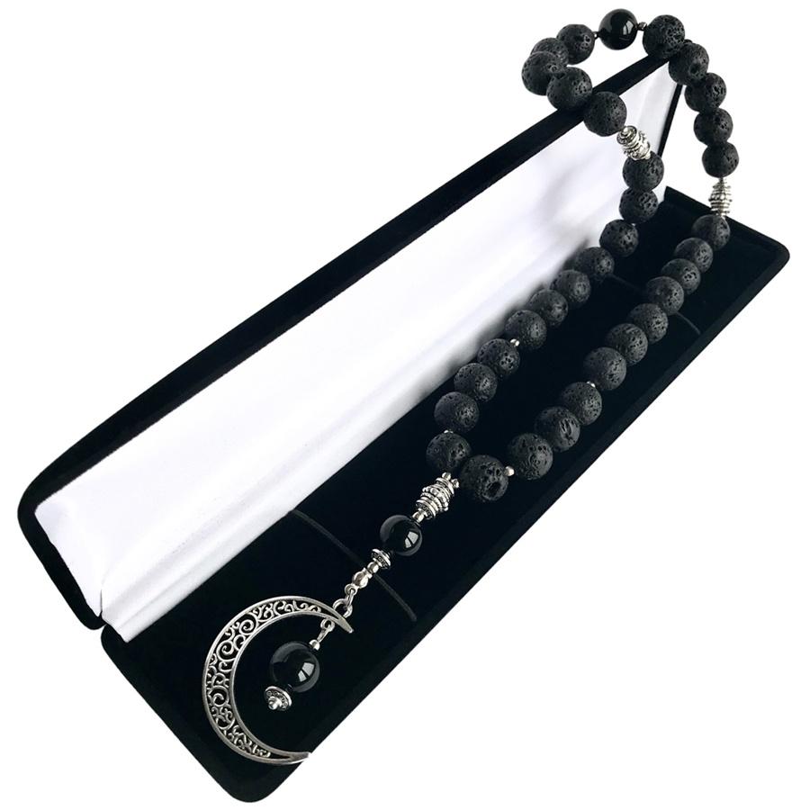 Сувенир для салона авто Мастерская Морозова Четки в авто Мусульманские природная Лава черный Оникс, черный