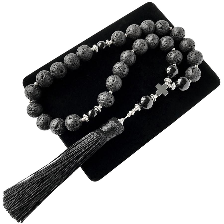 Сувенир для салона авто Мастерская Морозова Четки в авто природная Лава черный Оникс крест Гематит, черный