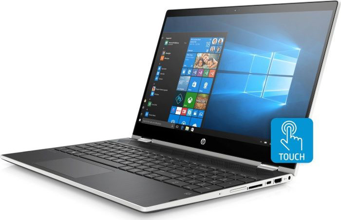 Ноутбук HP Pavilion x360 15-cr0004ur 15.6 4GY95EA, серебристый ноутбук hp pavilion 15 cs0023ur 4ju98ea core i5 8250u 4gb 1tb 16gb optane nv mx150 2gb 15 6 fullhd win10 rose gold