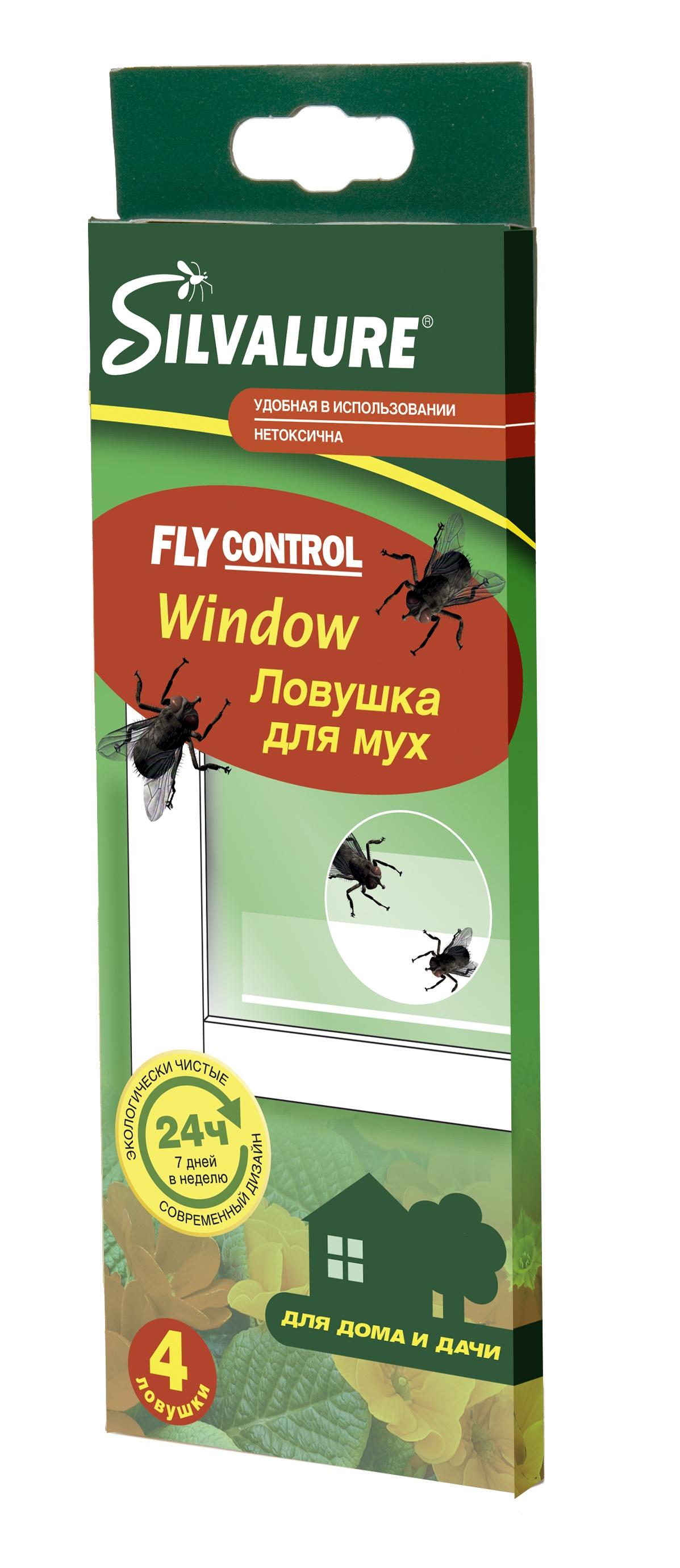 Ловушка для вредителей Silvalure. Клеевая ловушка от мух Window 4 штуки ловушка от мух и насекомых nadzor