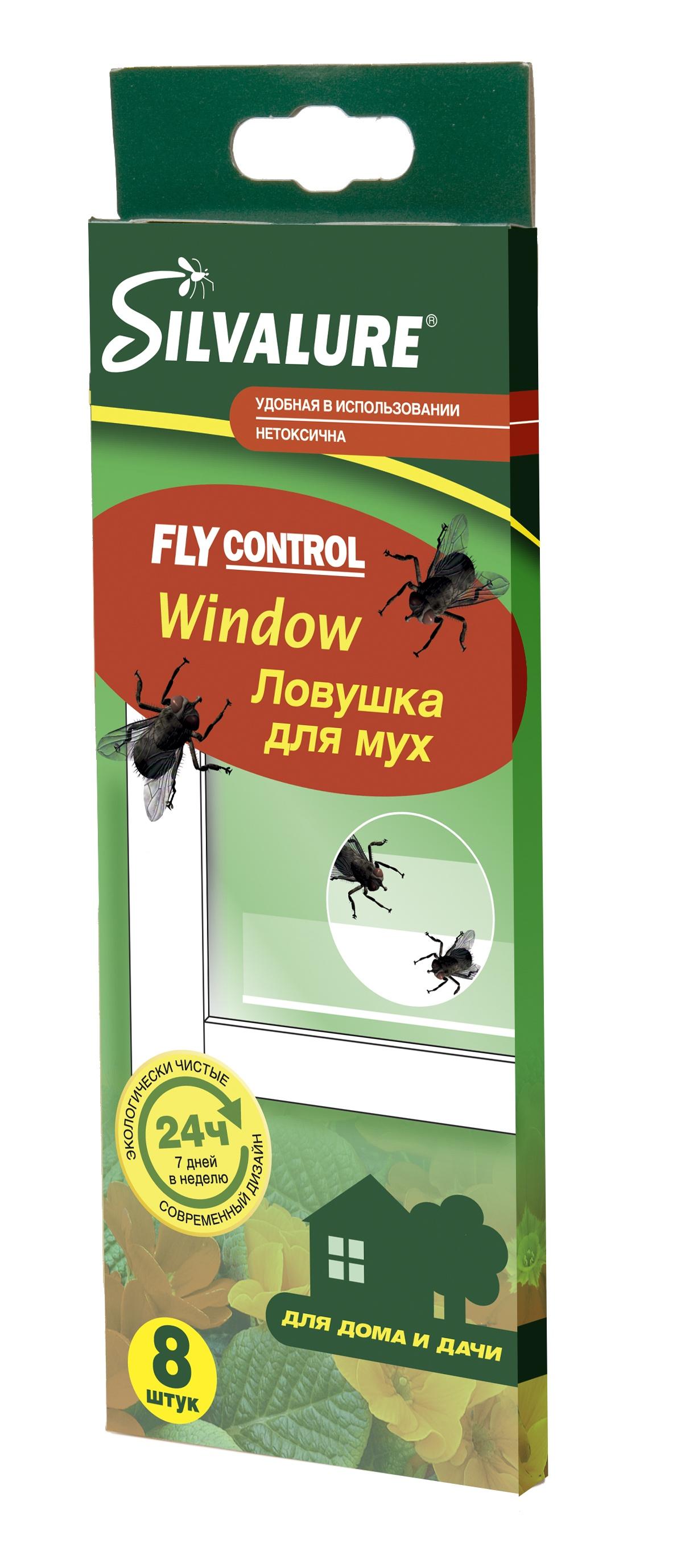 Лента от мух Silvalure. Клеевая ловушка от мух Window 8 штук ловушка от мух и насекомых nadzor