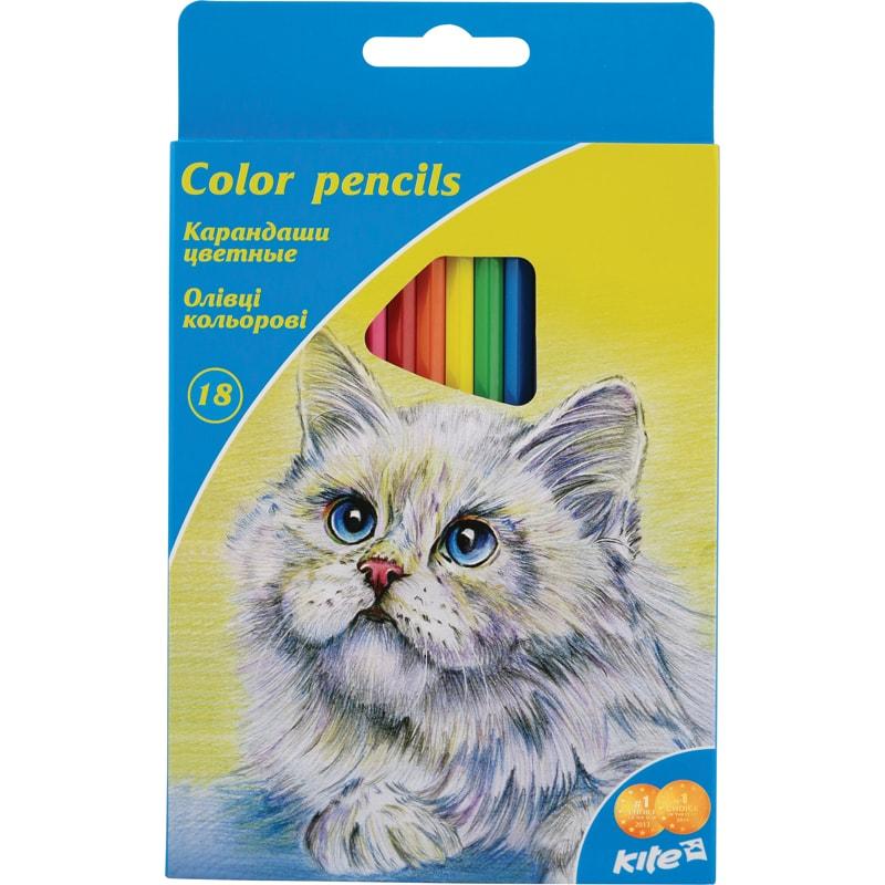 Набор карандашей Kite K15-052 Животные178-K15-052Карандаши цветные, 18 цветов. Шестигранная форма корпуса. Толщина грифеля 3 мм. Картонная упаковка с европодвесом.