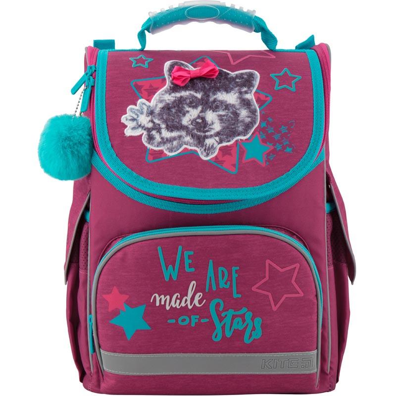 Рюкзак Kite школьный каркасный Education Fluffy racoon бордовый 35x25x13 см, красный kite kite ранец школьный каркасный alice in wonderland красный
