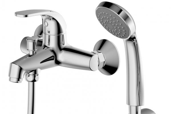 Смеситель Bravat для ванны с коротким изливом с аксессуарами Fit F6135188CP-B-RUS, серебристый цены