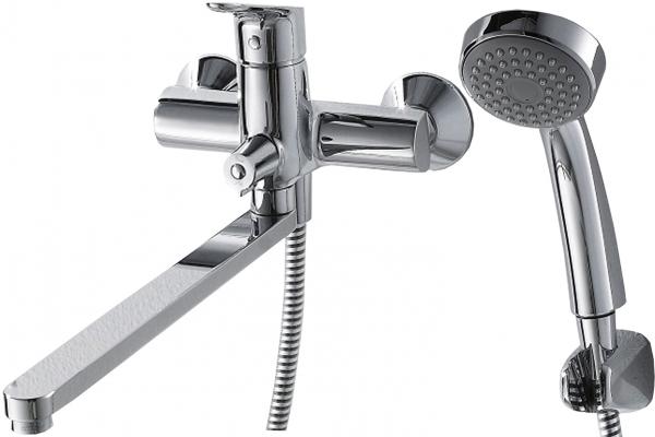 Смеситель Bravat для ванны c длинным изливом с аксессуарами Drop F64898C-LB, серебристый для ванны sensea с длинным изливом с душем однорычажный