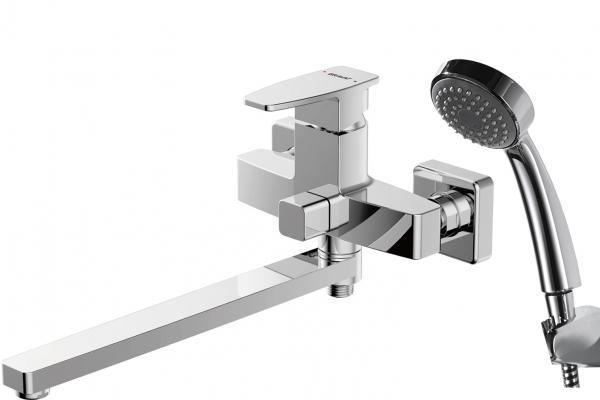 Смеситель Bravat для ванны c длинным изливом с аксессуарами Riffle F672106C-LB, серебристый для ванны sensea с длинным изливом с душем однорычажный