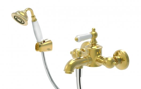 Смеситель Bravat для ванны с коротким изливом с аксессуарами Art F675109G-B, золотой смеситель для ванны lemark plus shape с изливом 300 мм с аксессуарами lm1751c