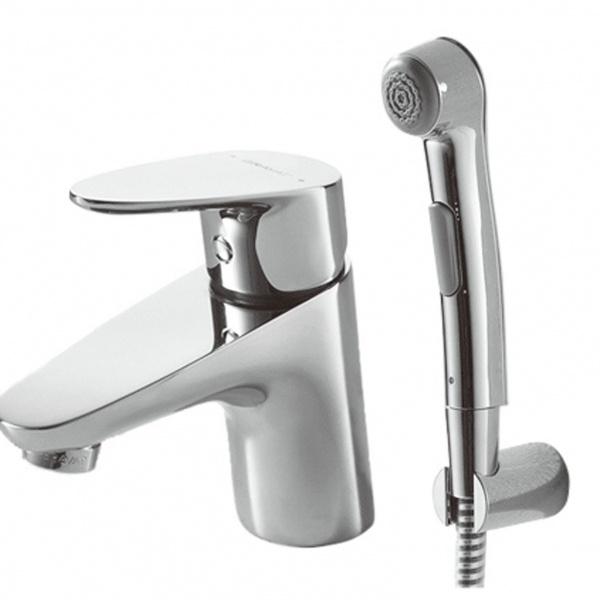 Смеситель Bravat для умывальника с гигиеническим душем Drop F14898C-2, серебристый смеситель bravat drop f14898c 2