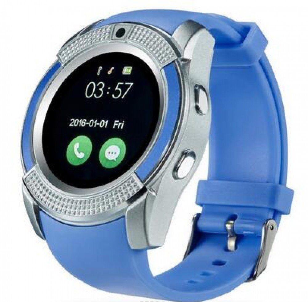 Умные часы V8 Plus, голубой цены