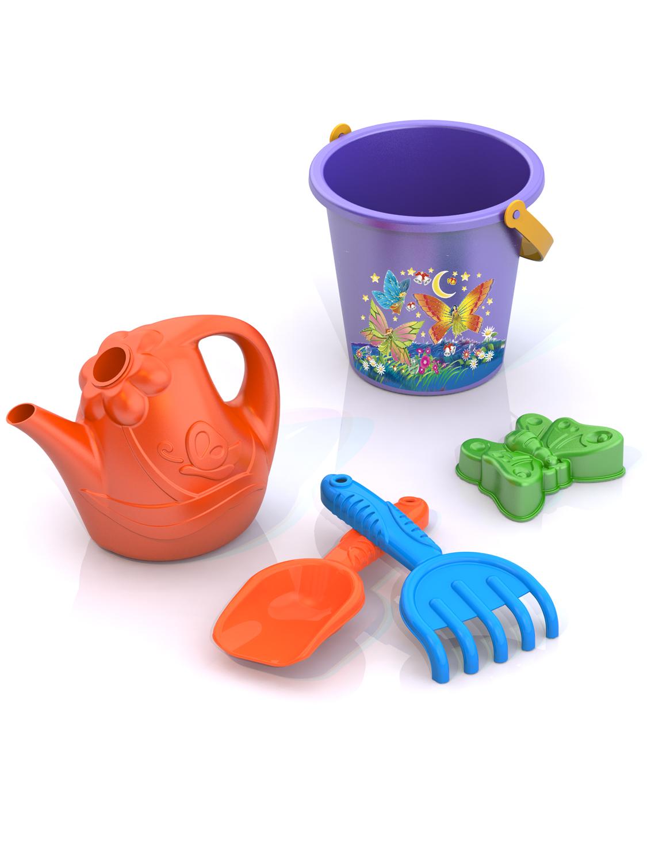 Игровой набор Нордпласт 194194_фиолетовый,оранжевыйНабор включает необходимые инструменты для игры с песком, такие как грабельки, совочек, ведерко и лейку. Цветная формочка поможет создать ребенку свою уникальную коллекцию бабочек! На ведерко нанесен красивый рисунок, который со временем не выгорает, а лейка имеет удобный длинный носик и привлекательный дизайн. Ручки соква и грабелек украшены морским рельефом. *способствует развитию мелкой моторики рук, фантазии, яркие цвета, прочный безопасный пластик, четкая деталировка, удобные ручки. Комплектация: совок , грабли, формочка «Бабочка», ведро, лейка