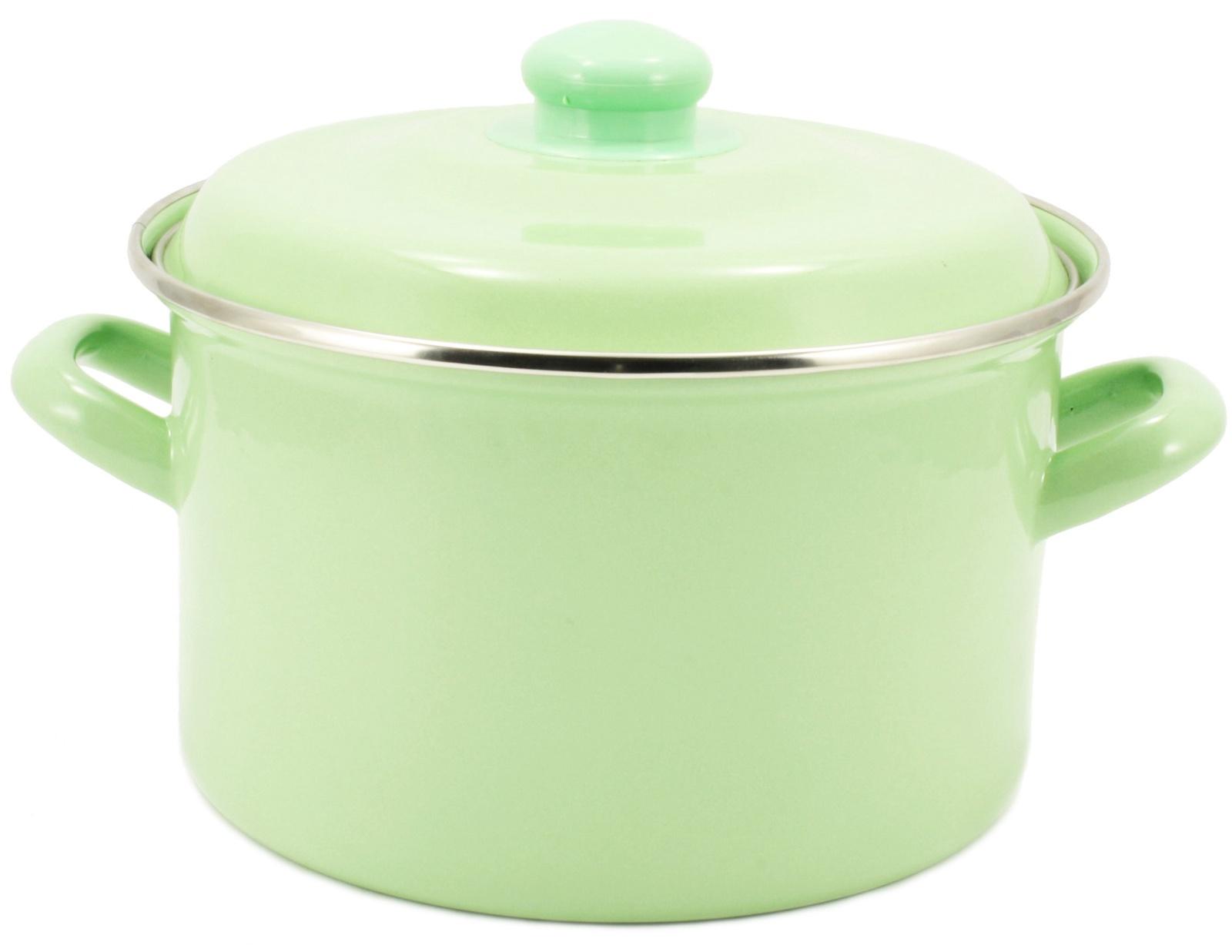 Кастрюля Interos МЯТА 6 литров с металлической крышкой, светло-зеленый