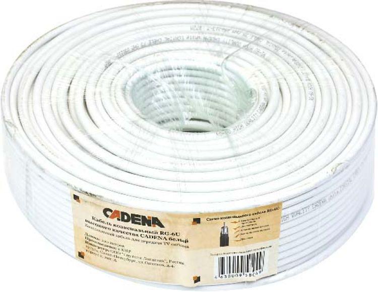 Кабель коаксиальный Cadena RG-6U высокого качества, белый, 100 м