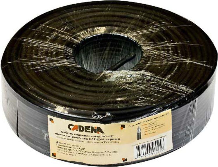 Кабель коаксиальный Cadena RG-6U высокого качества, черный, 100 м