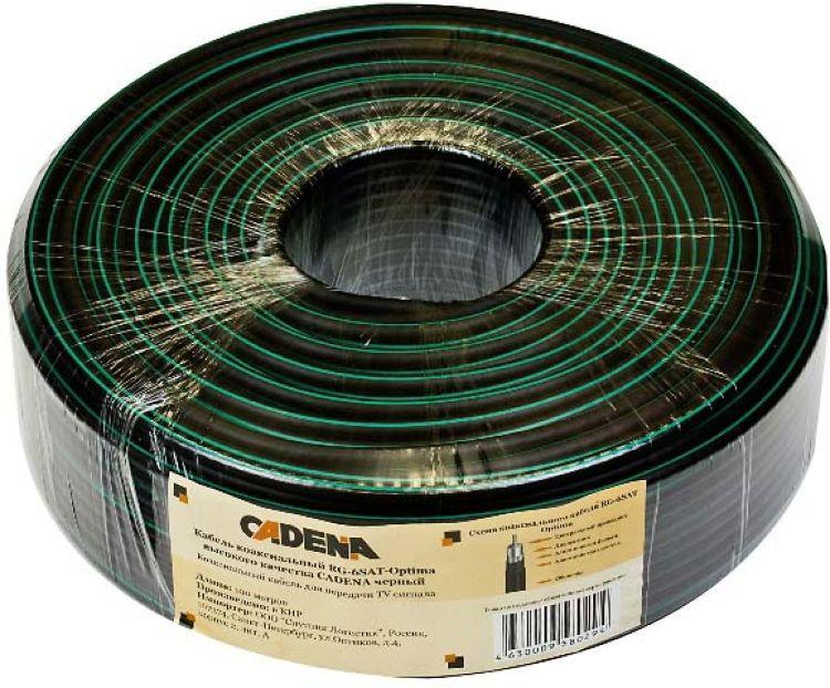 Кабель коаксиальный Cadena RG-6SAT-Optima высокого качества, черный, 100 м
