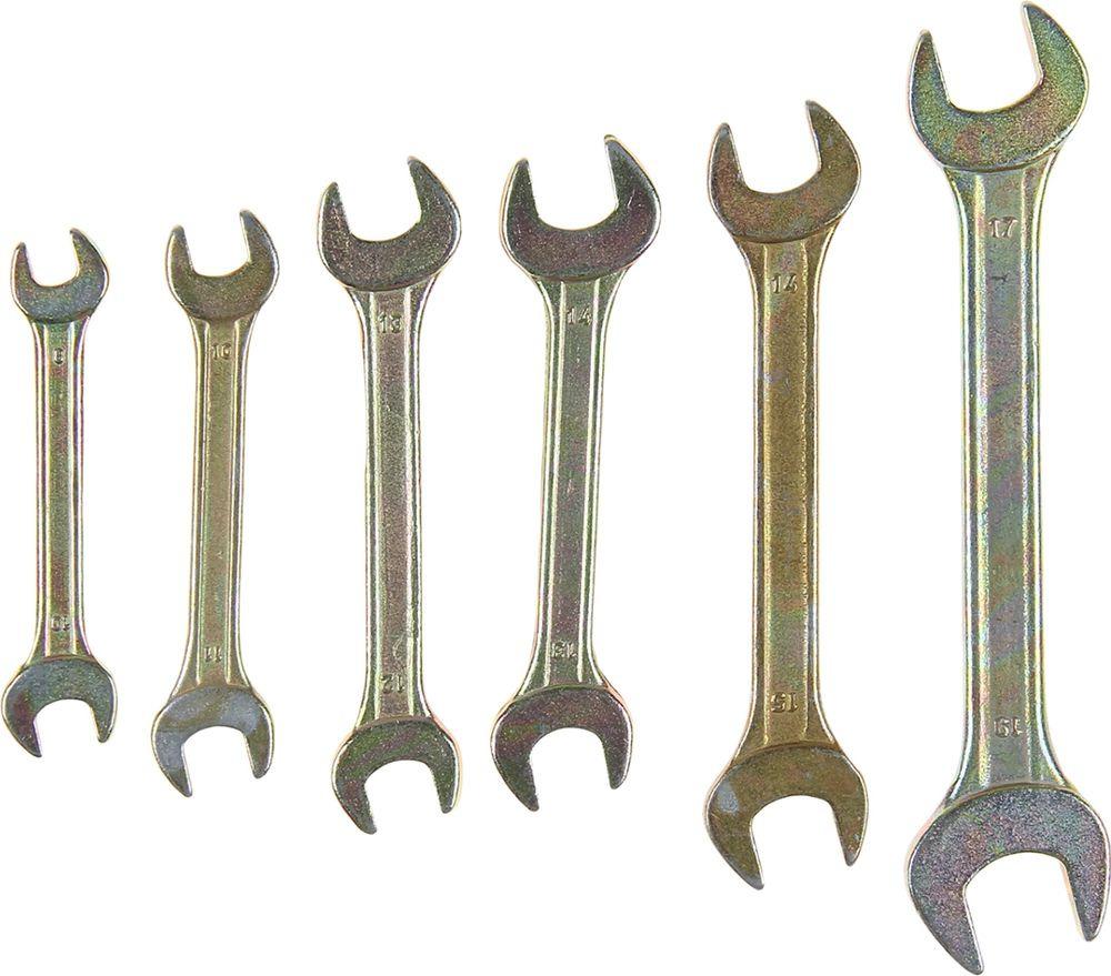 Набор рожковых ключей Tundra Basic, желтый цинк, 8-19 мм, 878102, 6 шт