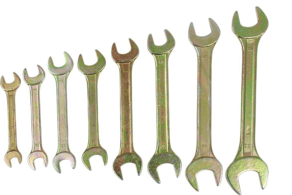 Набор рожковых ключей Tundra Basic, желтый цинк, 8-22 мм, 878103, 8 шт