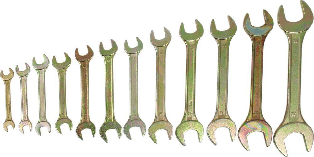 Набор рожковых ключей Tundra Basic, желтый цинк, 8-32 мм, 878104, 12 шт
