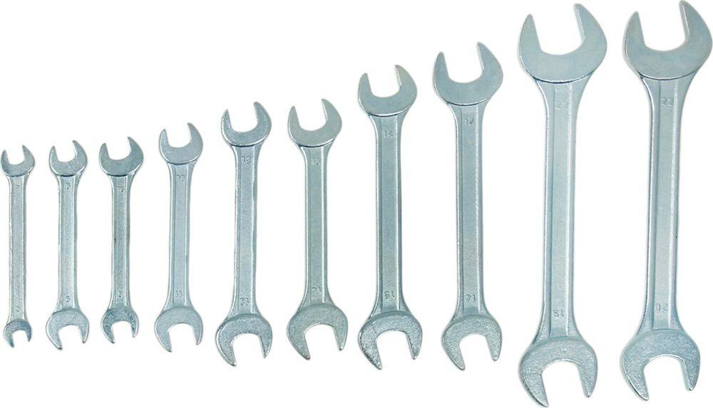 Набор рожковых ключей Tundra Basic, хромированный, 6-22 мм, 878107, 10 шт