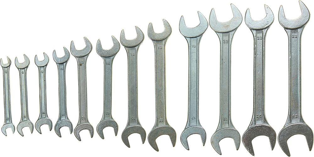Набор рожковых ключей Tundra Basic, хромированный, 6-24 мм, 878108, 12 шт878108Набор ключей TUNDRA предназначен для монтажа и демонтажа резьбовых соединений с шестигранным профилем. Данные модели оснащены двумя рабочими головками с открытым зевом. Фосфатированная поверхность обладает антикоррозийными свойствами, улучшает твёрдость и износостойкость. Комплект состоит из 10 изделий и имеет специальную сумку для удобного хранения и транспортировки.