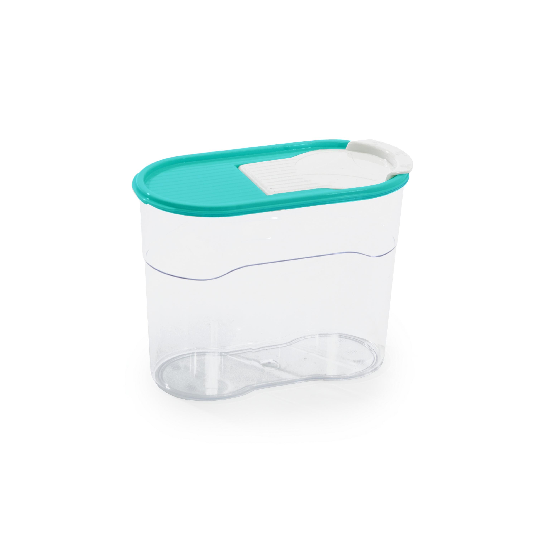 Банка для сыпучих продуктов Полимербыт ЛЮКС 1,1л, прозрачный, бирюзовый хранение продуктов