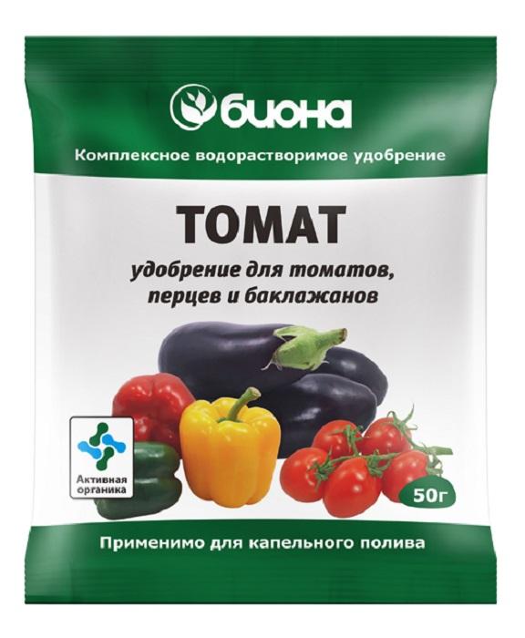 Удобрение Биона Водорастворимое комплексное Томат, 50г удобрение биона водорастворимое комплексное лук чеснок 50г