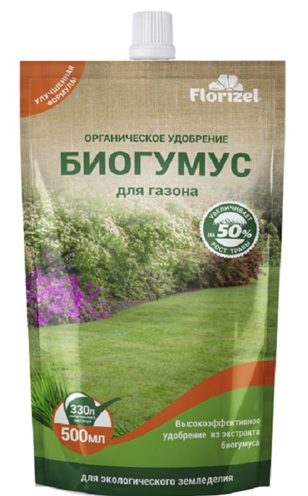 Удобрение Florizel Гелеобразное органическое Биогумус для газона, 500мл удобрение florizel гелеобразное органическое биогумус для роз 350мл