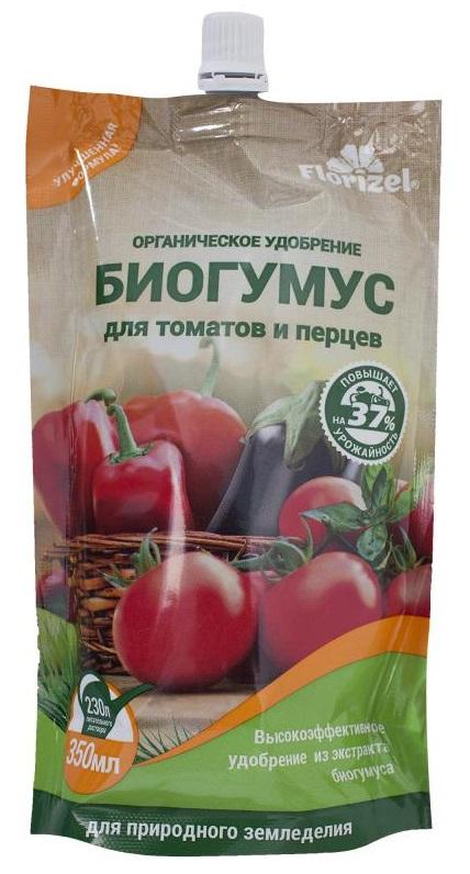 Удобрение Florizel Гелеобразное органическое Биогумус для томатов и перцев, 350мл удобрение florizel гелеобразное органическое биогумус для роз 350мл