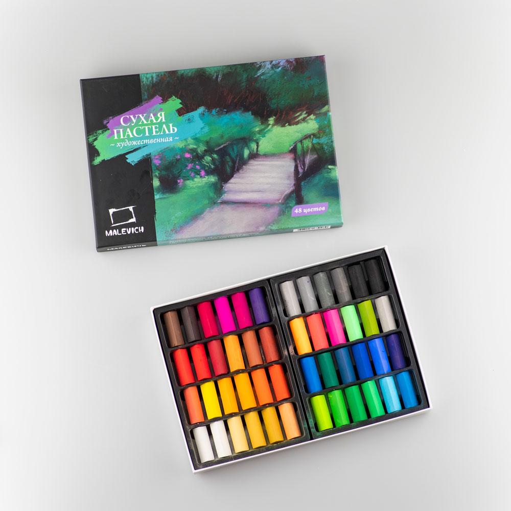 Пастель Малевичъ сухая художественная, квадратные мелки-половинки, 48 цветов мелки пастель 54 цвета