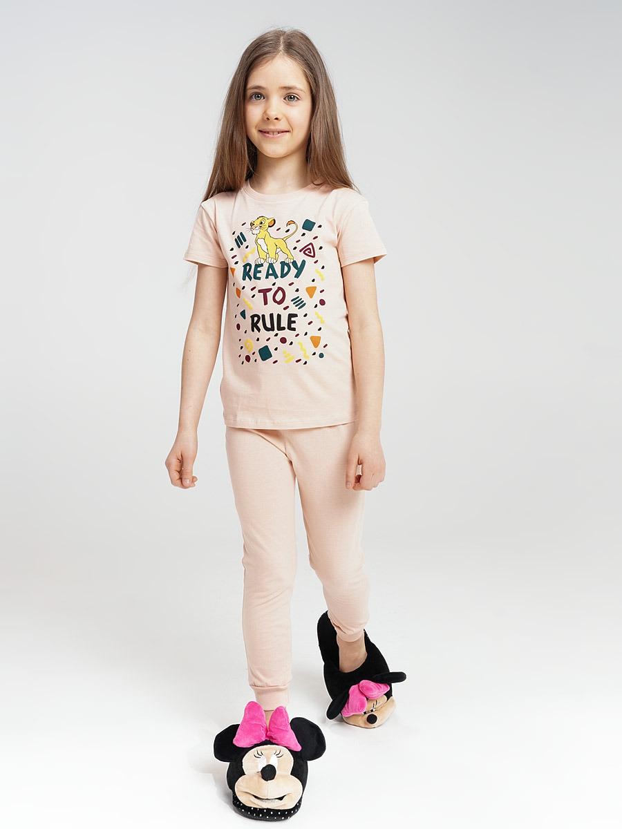 Пижама для девочки ТВОЕ, цвет: бежевый. 60536. Размер (140)60536Детская пижама для девочек, комплект из футболки и брюк. Изготовлено из 100% хлопка. Отлично подойдет для повседневного использования дома или на отдыхе. Пижама не сковывает движений и создает уют.
