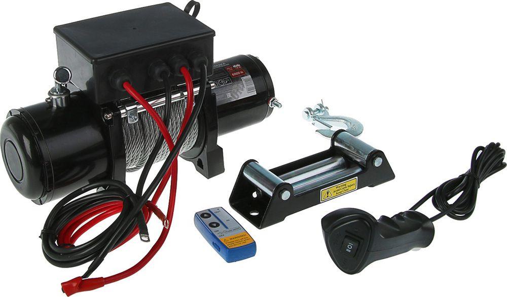 Лебедка электрическая Tundra 6000 lb, 1002780, черный, нагрузка 2722 кг, трос 24 м