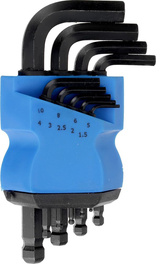 Набор шестигранных ключей Tundra Comfort Black, с шаром, 1,5 - 10 мм, 2354400, 9 шт