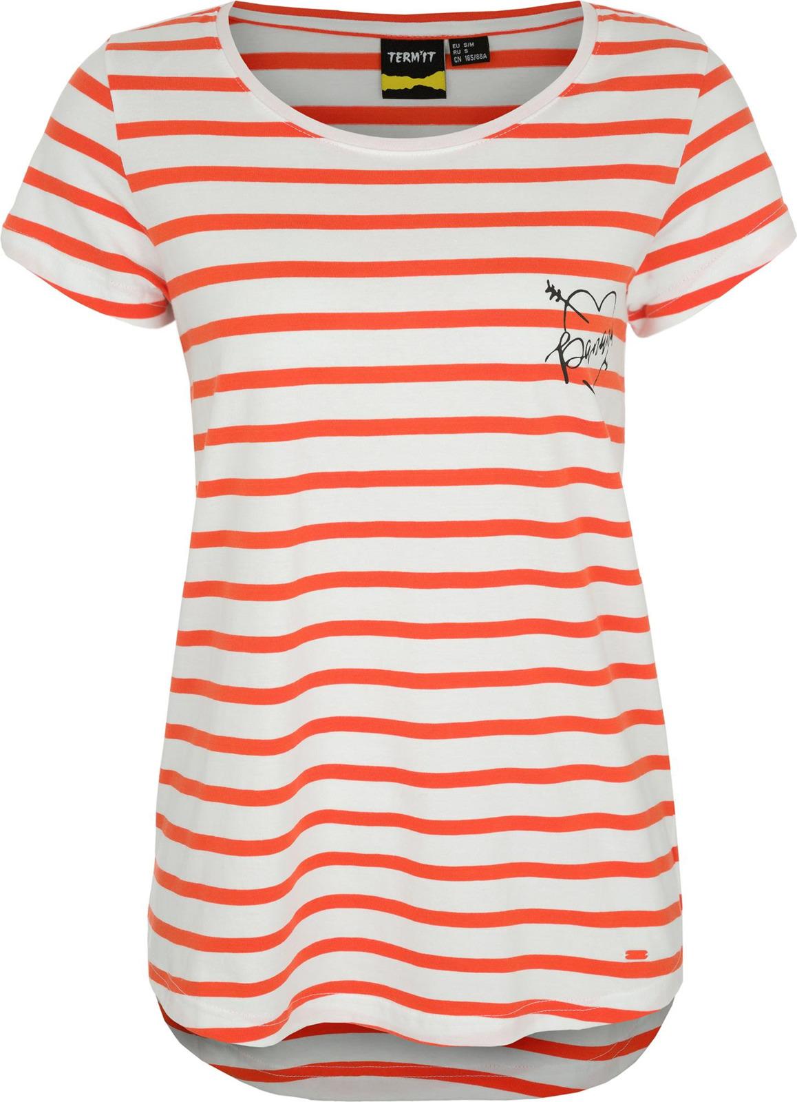 Футболка женская Termit Womens T-Shirt, цвет: белый, красный. 100609-WH. Размер M (46)100609-WHЖенская футболка с коротким рукавом от ТМ Termit.