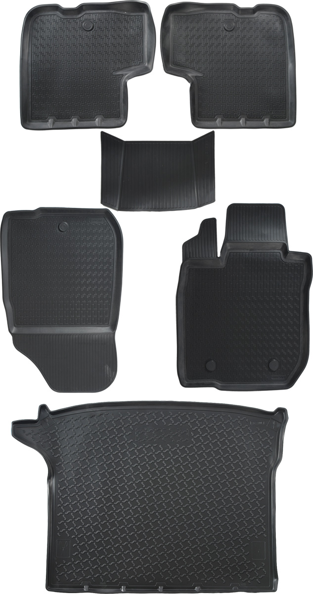 Комплект ковриков салона и багажника Rival для Lada Largus универсал, универсал Cross (5 мест) 2012-н.в., полиуретан, с крепежом, с перемычкой, 6 шт. K16003001-2 комплект ковриков салона и багажника rival для lada largus 5 мест 2012 н в полиуретан k16003001 2