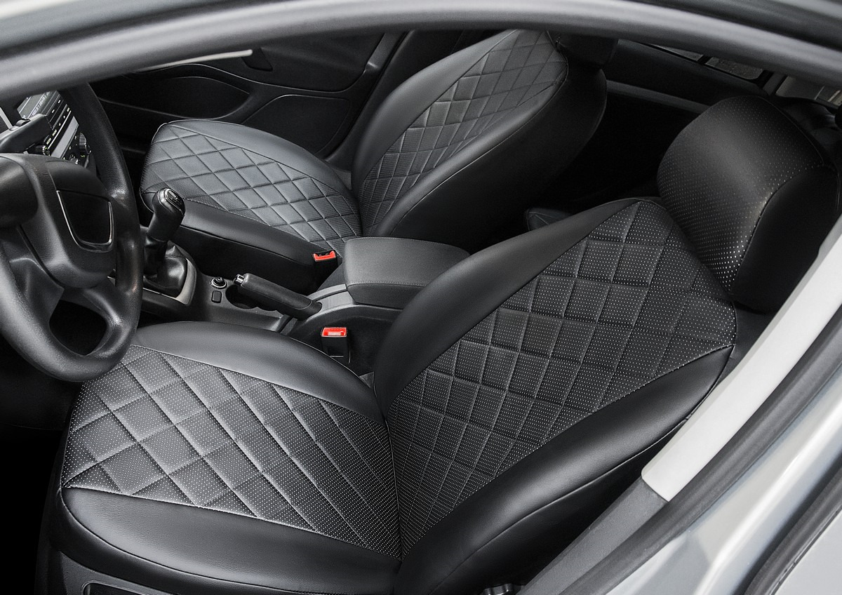 Авточехлы Rival Ромб (спинка 40/60) для сидений SsangYong Rexton II 5-дв. (ремень безопасности на задней спинке) 2007-2012 / UAZ Patriot 5-дв. 2007-2014, экокожа, черный. SC.5301.2