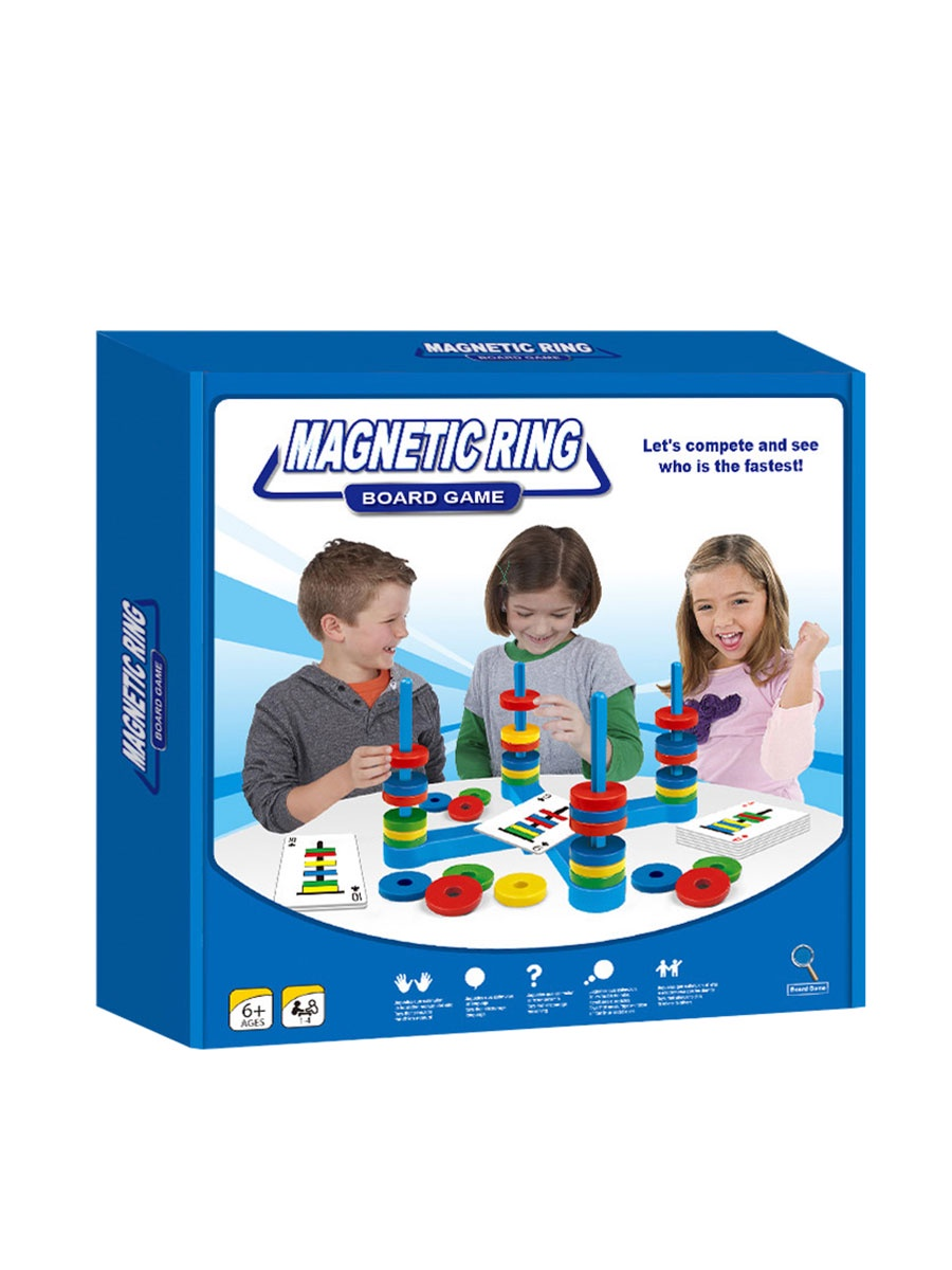 """Настольная игра BeeZee Toys Логическая настольная детская игра """"Магнитные кольца"""", 33 магнита, 54 карточки голубой, синий, желтый, зеленый, красный"""